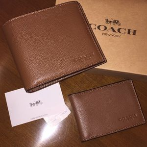 Coach leather wallet and ID card case